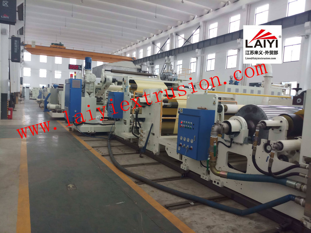 Automatic Hot Melt Plastic Lamination Machine with Rapid Cooling System in white and blue